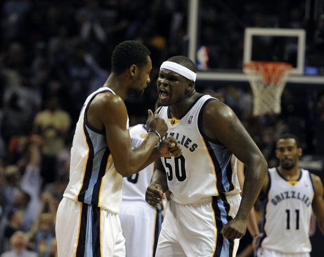 Apr 16, 2014; Memphis, TN, USA; Memphis Grizzlies forward Zach Randolph (50) and Memphis Grizzlies guard Tony Allen (9) react during the game against the Dallas Mavericks at FedExForum. Memphis Grizzlies beat the Dallas Mavericks in overtime 106 - 105. Mandatory Credit: Justin Ford-USA TODAY Sports
