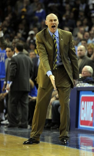 Apr 16, 2014; Memphis, TN, USA; Dallas Mavericks head coach Rick Carlisle reacts during the game against the Memphis Grizzlies at FedExForum. Memphis Grizzlies beat the Dallas Mavericks in overtime 106 - 105. Mandatory Credit: Justin Ford-USA TODAY Sports