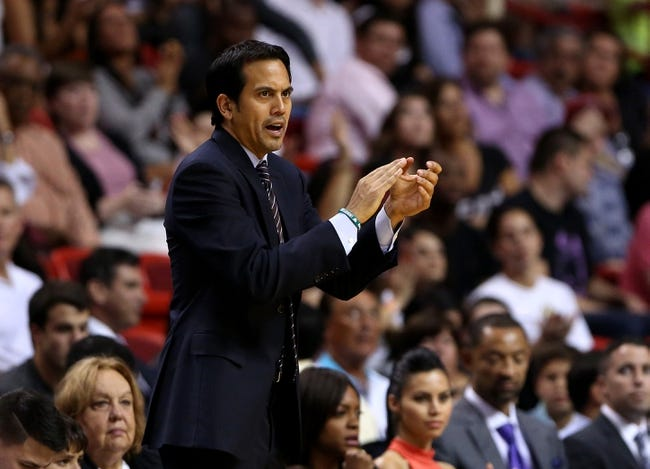 Apr 16, 2014; Miami, FL, USA; Miami Heat head coach Erik Spoelstra in the second half of a game against the Philadelphia 76ers at American Airlines Arena. The 76ers won 100-87. Mandatory Credit: Robert Mayer-USA TODAY Sports