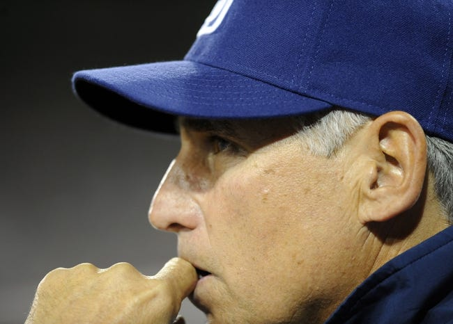 Apr 16, 2014; San Diego, CA, USA; San Diego Padres manager Bud Black (20) looks on during the sixth inning against the Colorado Rockies at Petco Park. Mandatory Credit: Christopher Hanewinckel-USA TODAY Sports