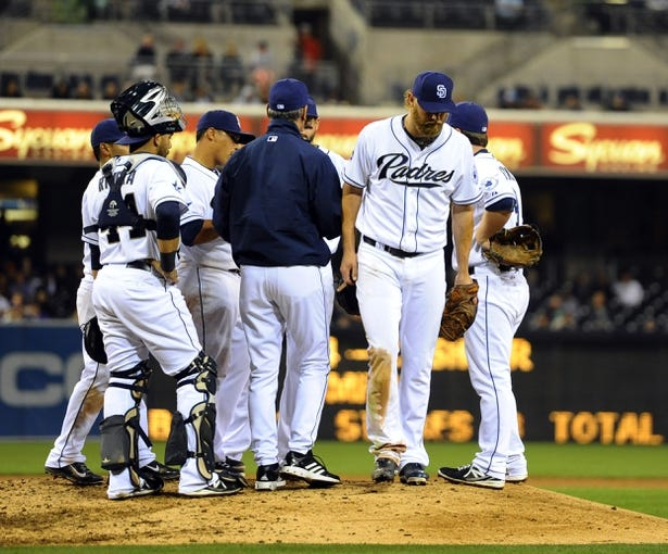 Apr 16, 2014; San Diego, CA, USA; San Diego Padres starting pitcher Andrew Cashner (34) is taken out of the game during the eighth inning against the Colorado Rockies at Petco Park. Mandatory Credit: Christopher Hanewinckel-USA TODAY Sports