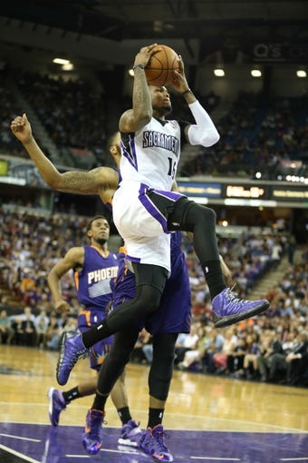 Apr 16, 2014; Sacramento, CA, USA; Sacramento Kings guard Ben McLemore (16) goes up for a layup against the Phoenix Suns during the fourth quarter at Sleep Train Arena. The Phoenix Suns defeated the Sacramento Kings 104-99. Mandatory Credit: Kelley L Cox-USA TODAY Sports