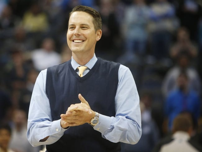 Apr 16, 2014; Denver, CO, USA; Denver Nuggets president Josh Kroenke before the game between the Denver Nuggets and the Golden State Warriors at Pepsi Center. Mandatory Credit: Chris Humphreys-USA TODAY Sports