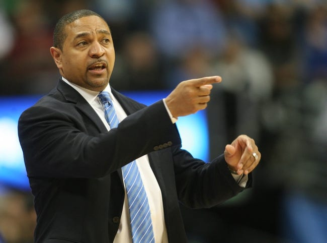 Apr 16, 2014; Denver, CO, USA; Golden State Warriors head coach Mark Jackson during the first half against the Denver Nuggets at Pepsi Center. The Warriors won 116-112.  Mandatory Credit: Chris Humphreys-USA TODAY Sports