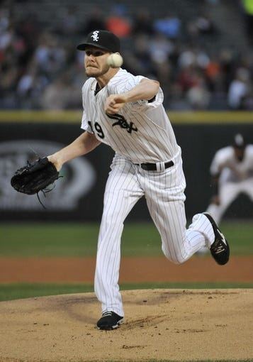 Apr 17, 2014; Chicago, IL, USA; Chicago White Sox starting pitcher Chris Sale (49) pitches against the Boston Red Sox during the first inning at U.S Cellular Field. Mandatory Credit: David Banks-USA TODAY Sports