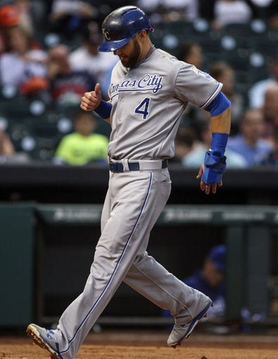 Apr 17, 2014; Houston, TX, USA; Kansas City Royals left fielder Alex Gordon (4) scores a run during the second inning against the Houston Astros at Minute Maid Park. Mandatory Credit: Troy Taormina-USA TODAY Sports