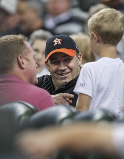 Apr 17, 2014; Houston, TX, USA; Houston Texans head coach Bill O'Brien talks with fans during a game between the Houston Astros and the Kansas City Royals at Minute Maid Park. Mandatory Credit: Troy Taormina-USA TODAY Sports