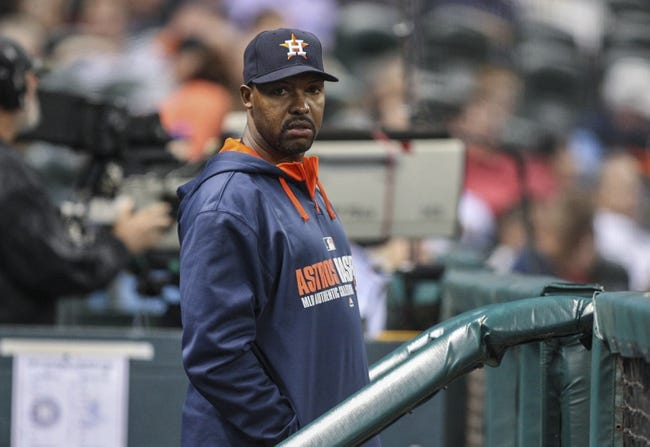Apr 17, 2014; Houston, TX, USA; Houston Astros manager Bo Porter (16) watches from the dugout during the third inning against the Kansas City Royals at Minute Maid Park. Mandatory Credit: Troy Taormina-USA TODAY Sports
