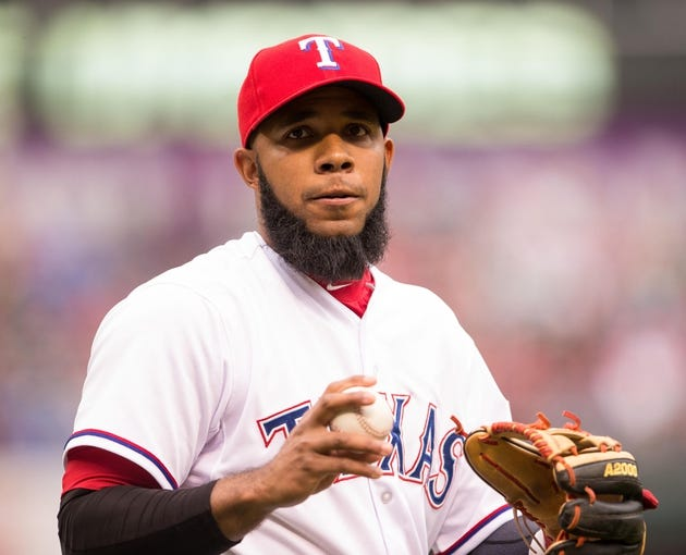 Apr 13, 2014; Arlington, TX, USA; Texas Rangers shortstop Elvis Andrus (1) during the game against the Houston Astros at Globe Life Park in Arlington. The Rangers defeated the Astros 1-0. Mandatory Credit: Jerome Miron-USA TODAY Sports