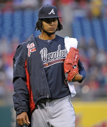 Apr 14, 2014; Philadelphia, PA, USA; Atlanta Braves starting pitcher Ervin Santana (30) before game against the Philadelphia Phillies at Citizens Bank Park. The Braves defeated the Phillies, 9-6. Mandatory Credit: Eric Hartline-USA TODAY Sports