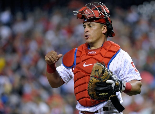 Apr 14, 2014; Philadelphia, PA, USA; Philadelphia Phillies catcher Carlos Ruiz (51) during game against the Atlanta Braves at Citizens Bank Park. The Braves defeated the Phillies, 9-6. Mandatory Credit: Eric Hartline-USA TODAY Sports