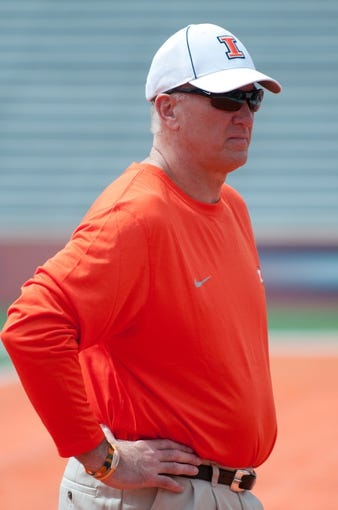 Apr 12, 2014; Champaign, IL, USA;  Illinois Fighting Illini offensive coordinator Bill Cubit before the spring game at Memorial Stadium. Mandatory Credit: Bradley Leeb-USA TODAY Sports