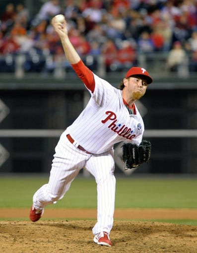 Apr 14, 2014; Philadelphia, PA, USA; Philadelphia Phillies relief pitcher B.J. Rosenberg (39) throws a pitch against the Atlanta Braves at Citizens Bank Park. The Braves defeated the Phillies, 9-6. Mandatory Credit: Eric Hartline-USA TODAY Sports