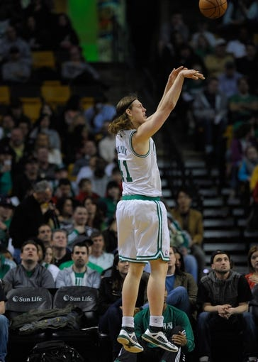 Apr 16, 2014; Boston, MA, USA; Boston Celtics center Kelly Olynyk (41) shoots the ball during the second half against the Washington Wizards at TD Garden. Mandatory Credit: Bob DeChiara-USA TODAY Sports