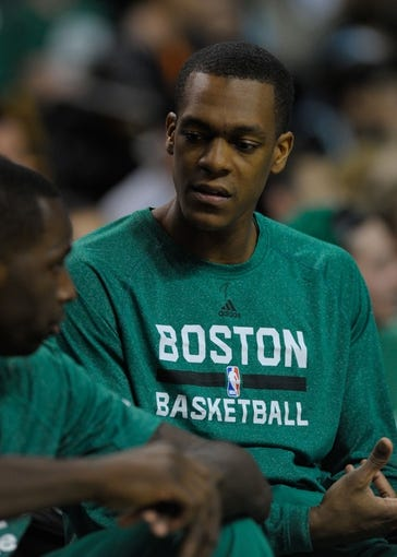 Apr 16, 2014; Boston, MA, USA; Boston Celtics guard Rajon Rondo (9) sits on the bench during the second half against the Washington Wizards at TD Garden. Mandatory Credit: Bob DeChiara-USA TODAY Sports