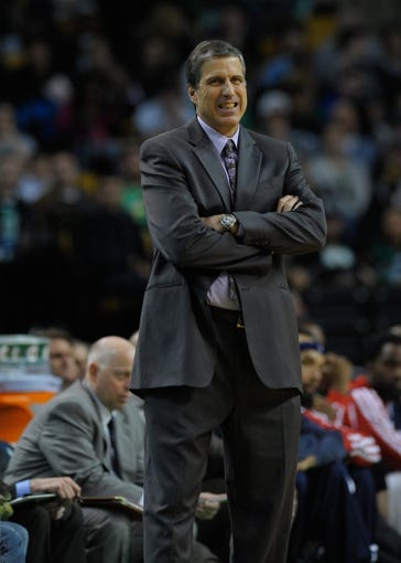 Apr 16, 2014; Boston, MA, USA; Washington Wizards head coach Randy Wittman during the second half against the Boston Celtics at TD Garden. Mandatory Credit: Bob DeChiara-USA TODAY Sports