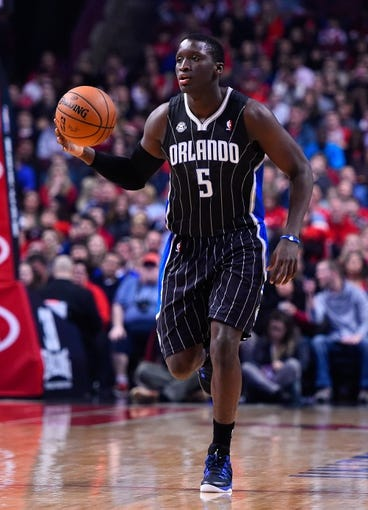 Apr 14, 2014; Chicago, IL, USA; Orlando Magic guard Victor Oladipo (5) during the first quarter at the United Center. Mandatory Credit: Mike DiNovo-USA TODAY Sports