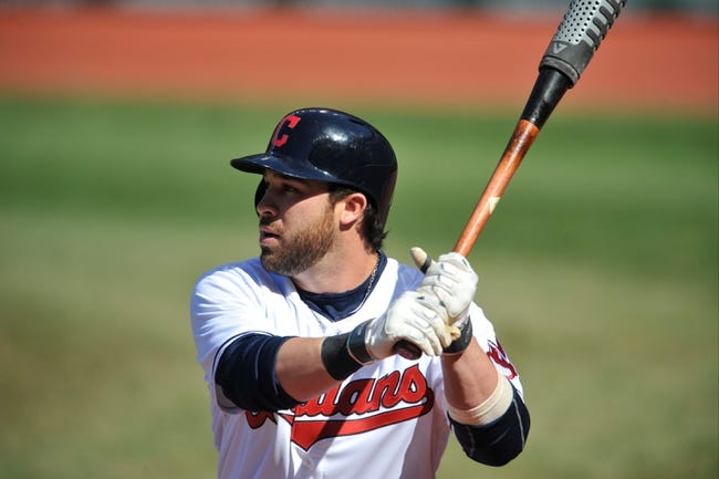 Apr 9, 2014; Cleveland, OH, USA; Cleveland Indians second baseman Jason Kipnis (22) bats against the San Diego Padres in game two at Progressive Field. San Diego won 2-1. Mandatory Credit: David Richard-USA TODAY Sports