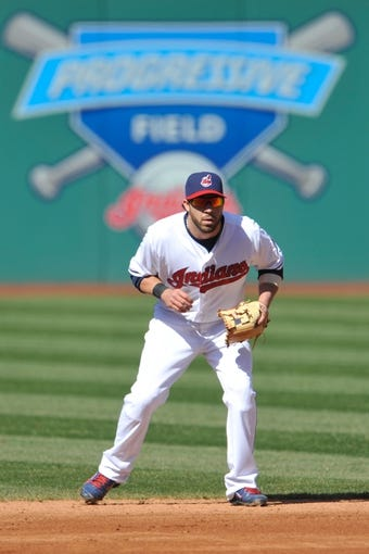 Apr 9, 2014; Cleveland, OH, USA; Cleveland Indians second baseman Jason Kipnis (22) stands on the infield against the San Diego Padres in game two at Progressive Field. San Diego won 2-1. Mandatory Credit: David Richard-USA TODAY Sports