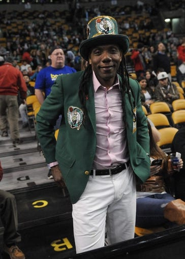 Apr 16, 2014; Boston, MA, USA; A Boston Celtics fan poses for a photo prior to a game against the Washington Wizards at TD Garden. Mandatory Credit: Bob DeChiara-USA TODAY Sports