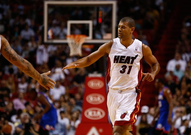 Apr 16, 2014; Miami, FL, USA; Miami Heat forward Shane Battier (31) reacts after making a three point shot in the first half of a game against the Philadelphia 76ers at American Airlines Arena. Mandatory Credit: Robert Mayer-USA TODAY Sports