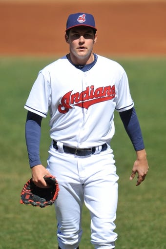 Apr 9, 2014; Cleveland, OH, USA; Cleveland Indians starting pitcher Trevor Bauer (47) walks off the field against the San Diego Padres in game two at Progressive Field. San Diego won 2-1. Mandatory Credit: David Richard-USA TODAY Sports