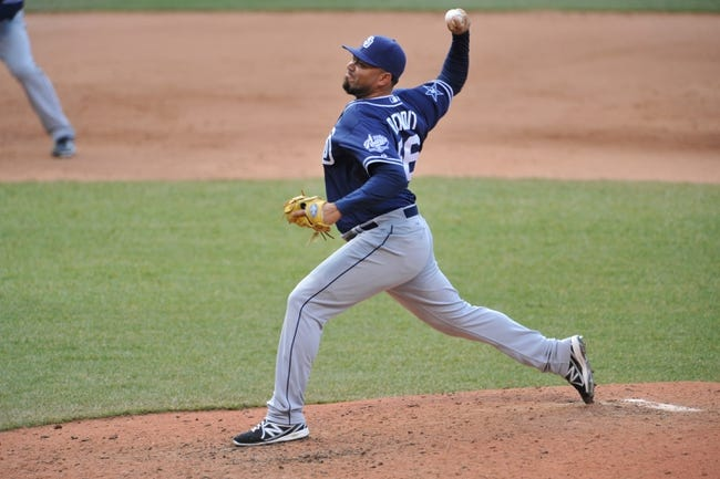Apr 9, 2014; Cleveland, OH, USA; San Diego Padres relief pitcher Joaquin Benoit (56) delivers against the Cleveland Indians in game two at Progressive Field. San Diego won 2-1. Mandatory Credit: David Richard-USA TODAY Sports