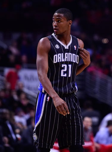 Apr 14, 2014; Chicago, IL, USA; Orlando Magic forward Maurice Harkless (21) during the first quarter at the United Center. Mandatory Credit: Mike DiNovo-USA TODAY Sports