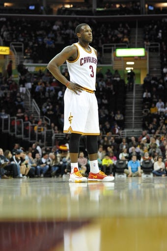 Apr 9, 2014; Cleveland, OH, USA; Cleveland Cavaliers guard Dion Waiters (3) reacts against the Detroit Pistons at Quicken Loans Arena. Cleveland won 122-100. Mandatory Credit: David Richard-USA TODAY Sports