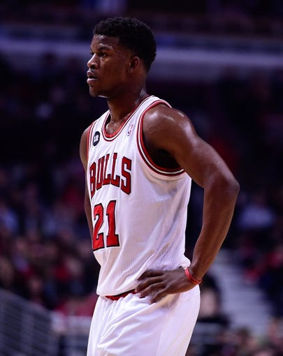 Apr 14, 2014; Chicago, IL, USA; Chicago Bulls guard Jimmy Butler (21) during the first quarter at the United Center. Mandatory Credit: Mike DiNovo-USA TODAY Sports