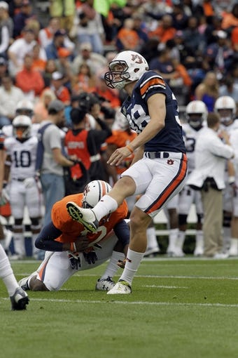 Apr 19, 2014; Auburn, AL, USA;  Auburn Tigers kicker Daniel Carlson (38) tries a field goal during the first half of the A-Day spring game at Jordan Hare Stadium. Mandatory Credit: John Reed-USA TODAY Sports