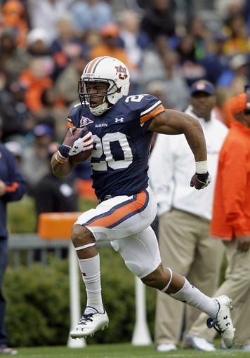 Apr 19, 2014; Auburn, AL, USA;  Auburn Tigers running back Corey Grant carries the ball during the first half of the A-Day spring game at Jordan Hare Stadium. Mandatory Credit: John Reed-USA TODAY Sports