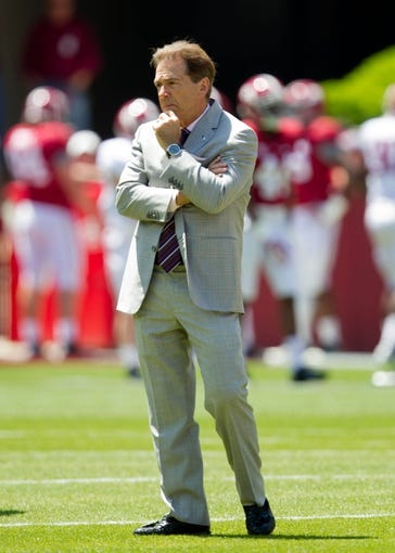 Apr 19, 2014; Tuscaloosa, AL, USA;  Alabama head coach Nick Saban prior to the A-Day game at Bryant-Denny Stadium. Mandatory Credit: Marvin Gentry-USA TODAY Sports