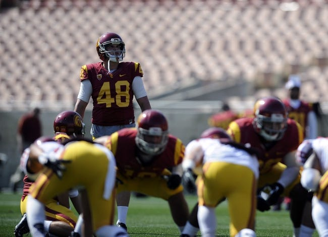 Apr 19, 2014; Los Angeles, CA, USA; Southern California place kicker Andre Heidari (48) looks at the uprights during the Southern California Spring Game at Los Angeles Memorial Coliseum. Mandatory Credit: Kelvin Kuo-USA TODAY Sports