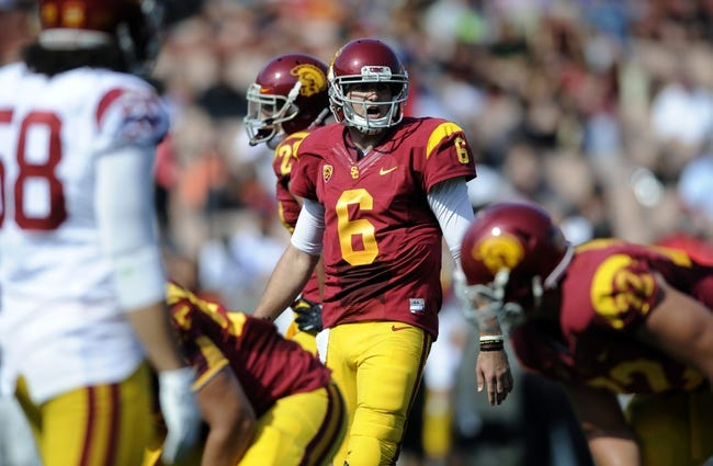 Apr 19, 2014; Los Angeles, CA, USA; Southern California quarterback Cody Kessler (6) yells during the Southern California Spring Game at Los Angeles Memorial Coliseum. Mandatory Credit: Kelvin Kuo-USA TODAY Sports