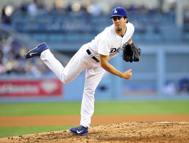 April 19, 2014; Los Angeles, CA, USA; Los Angeles Dodgers starting pitcher Dan Haren (14) pitches the fifth inning against the Arizona Diamondbacks at Dodger Stadium. Mandatory Credit: Gary Vasquez-USA TODAY Sports