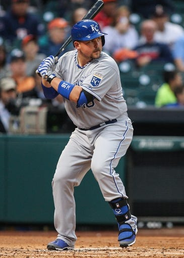 Apr 17, 2014; Houston, TX, USA; Kansas City Royals designated hitter Billy Butler (16) bats during the second inning against the Houston Astros at Minute Maid Park. Mandatory Credit: Troy Taormina-USA TODAY Sports