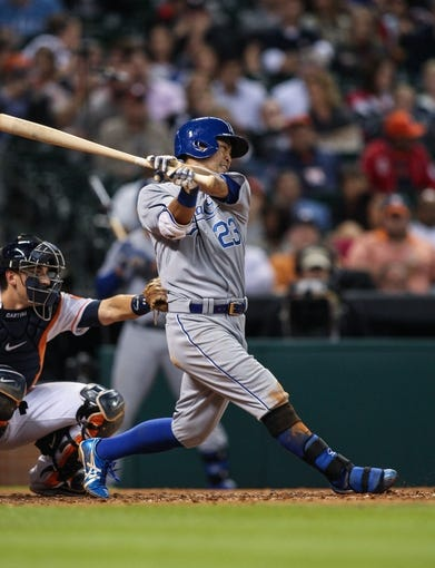 Apr 17, 2014; Houston, TX, USA; Kansas City Royals right fielder Norichika Aoki (23) bats during the seventh inning against the Houston Astros at Minute Maid Park. Mandatory Credit: Troy Taormina-USA TODAY Sports