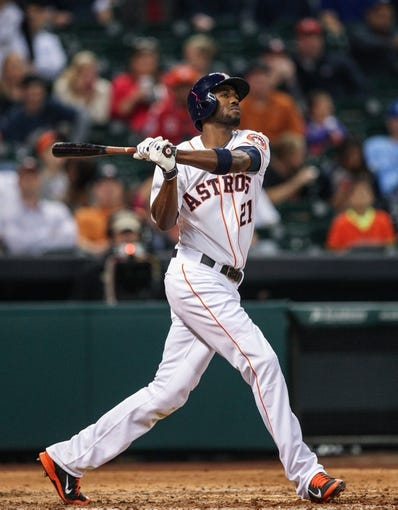Apr 17, 2014; Houston, TX, USA; Houston Astros center fielder Dexter Fowler (21) bats during the eighth inning against the Kansas City Royals at Minute Maid Park. Mandatory Credit: Troy Taormina-USA TODAY Sports