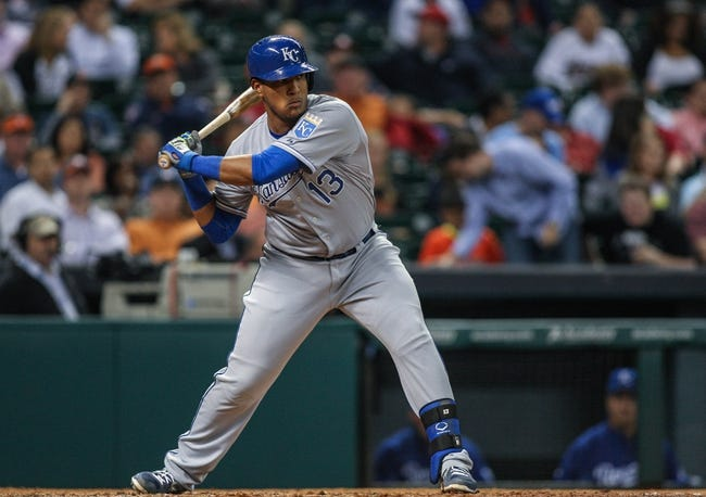 Apr 17, 2014; Houston, TX, USA; Kansas City Royals catcher Salvador Perez (13) bats during the eighth inning against the Houston Astros at Minute Maid Park. Mandatory Credit: Troy Taormina-USA TODAY Sports