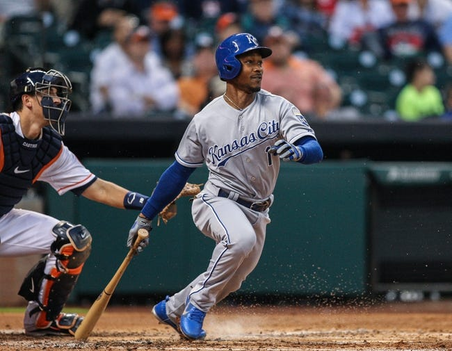 Apr 17, 2014; Houston, TX, USA; Kansas City Royals center fielder Jarrod Dyson (1) bats during the second inning against the Houston Astros at Minute Maid Park. Mandatory Credit: Troy Taormina-USA TODAY Sports