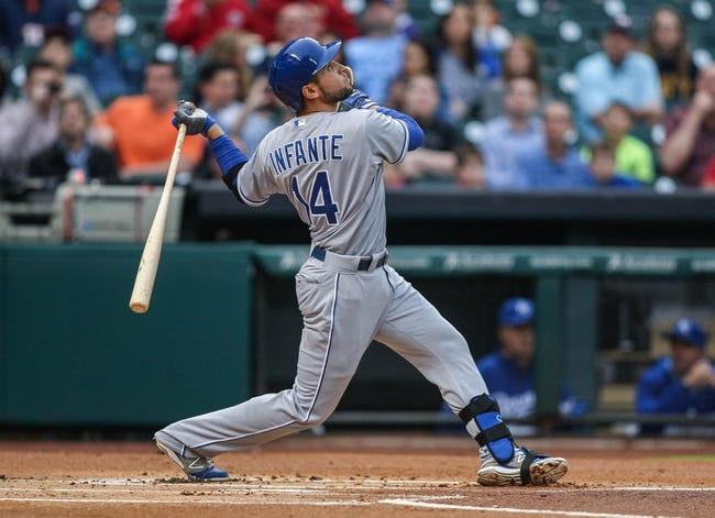 Apr 17, 2014; Houston, TX, USA; Kansas City Royals second baseman Omar Infante (14) bats during the fourth inning against the Houston Astros at Minute Maid Park. Mandatory Credit: Troy Taormina-USA TODAY Sports