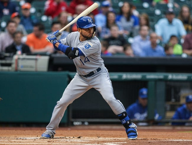 Apr 17, 2014; Houston, TX, USA; Kansas City Royals second baseman Omar Infante (14) bats during the first inning against the Houston Astros at Minute Maid Park. Mandatory Credit: Troy Taormina-USA TODAY Sports