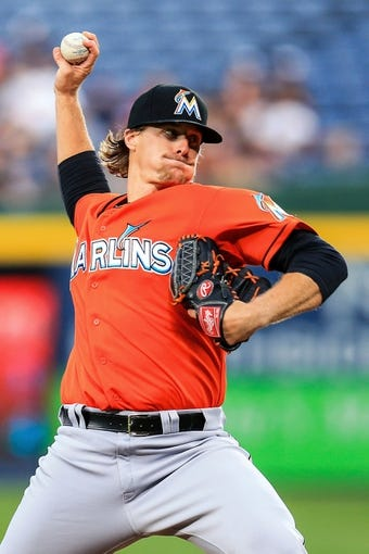 Apr 21, 2014; Atlanta, GA, USA; Miami Marlins starting pitcher Tom Koehler (34) pitches in the second inning against the Atlanta Braves at Turner Field. Mandatory Credit: Daniel Shirey-USA TODAY Sports