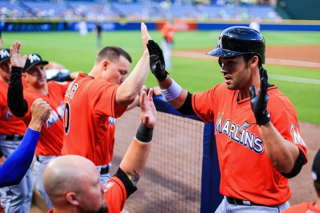 Apr 21, 2014; Atlanta, GA, USA; Miami Marlins first baseman Garrett Jones (46) celebrates a solo home run in the second inning against the Atlanta Braves at Turner Field. Mandatory Credit: Daniel Shirey-USA TODAY Sports