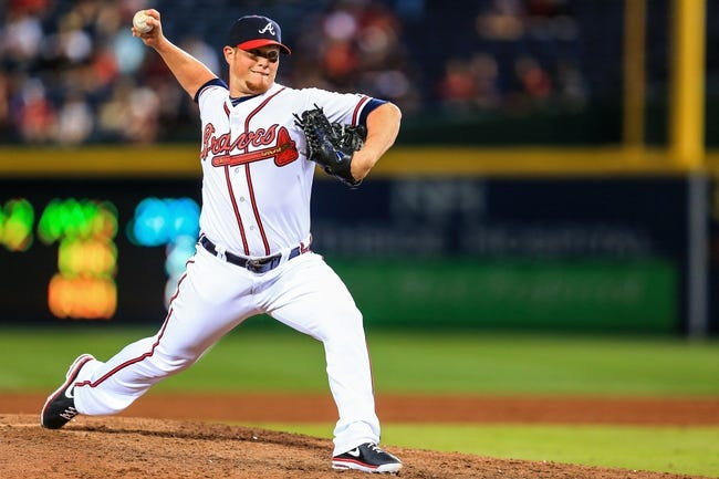 Apr 21, 2014; Atlanta, GA, USA; Atlanta Braves relief pitcher Craig Kimbrel (46) pitches in the ninth inning against the Miami Marlins at Turner Field. Mandatory Credit: Daniel Shirey-USA TODAY Sports