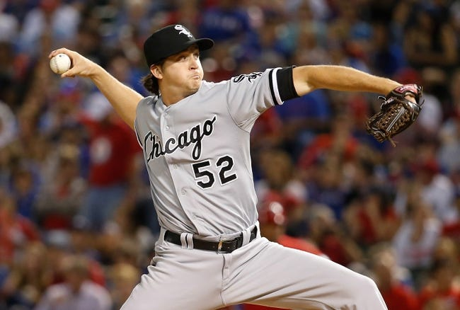 Apr 19, 2014; Arlington, TX, USA; Chicago White Sox relief pitcher Jake Petricka (52) throws during the game against the Texas Rangers at Globe Life Park in Arlington. Texas won 6-3. Mandatory Credit: Kevin Jairaj-USA TODAY Sports