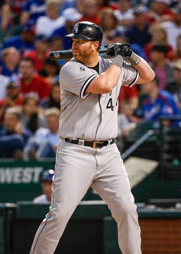Apr 19, 2014; Arlington, TX, USA; Chicago White Sox designated hitter Adam Dunn (44) bats during the game against the Texas Rangers at Globe Life Park in Arlington. Texas won 6-3. Mandatory Credit: Kevin Jairaj-USA TODAY Sports