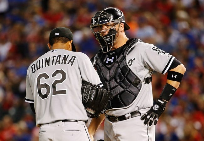 Apr 19, 2014; Arlington, TX, USA; Chicago White Sox starting pitcher Jose Quintana (62) speaks to catcher Tyler Flowers (21) during the game against the Texas Rangers at Globe Life Park in Arlington. Texas won 6-3. Mandatory Credit: Kevin Jairaj-USA TODAY Sports