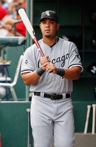 Apr 19, 2014; Arlington, TX, USA; Chicago White Sox first baseman Jose Abreu (79) before the game against the Texas Rangers at Globe Life Park in Arlington. Texas won 6-3. Mandatory Credit: Kevin Jairaj-USA TODAY Sports